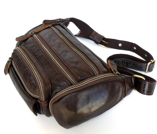 2083 100% Leather Unique Style Waist Bag Fanny Pack Purse