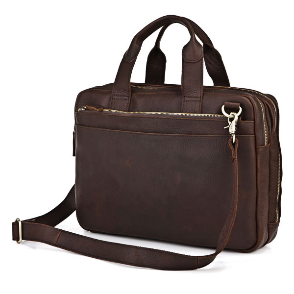 7092R Lichee Leather Men's Dark Brown Laptop Bag Mens Document Bag ...