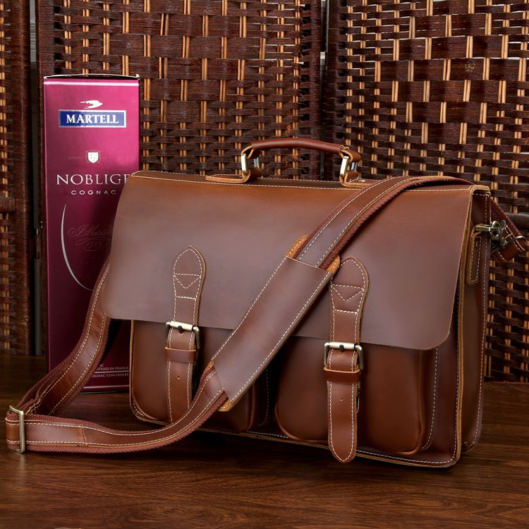 7105X-1 Genuine Cow Leather Style Men's Briefcase Bag Handbag ...