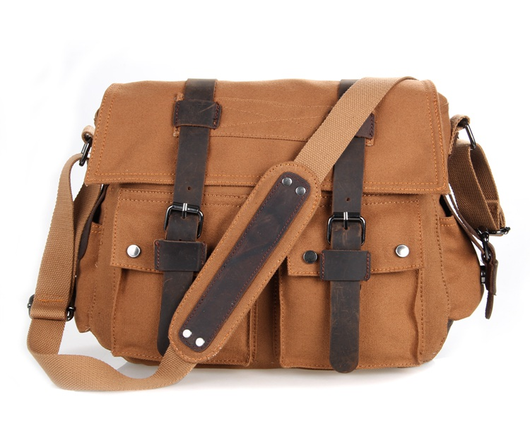 9002B New Style Vintage Canvas and leather Men's Coffee Briefcase Messenger Bookbag