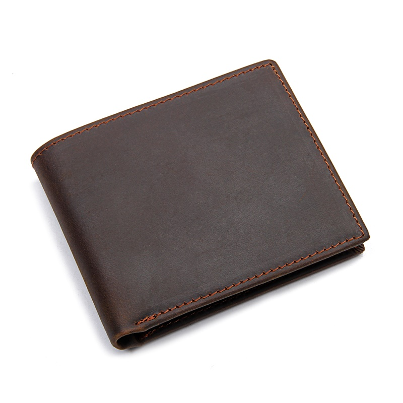 R-8449R Top Full Grain Leather Crazy Horse Leather Wallet for Men