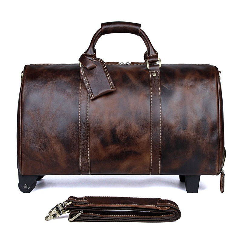 7077LQ Brown Cow Leather 15.6 Inches Travel Tote Trolley Dispatch Bag for Men