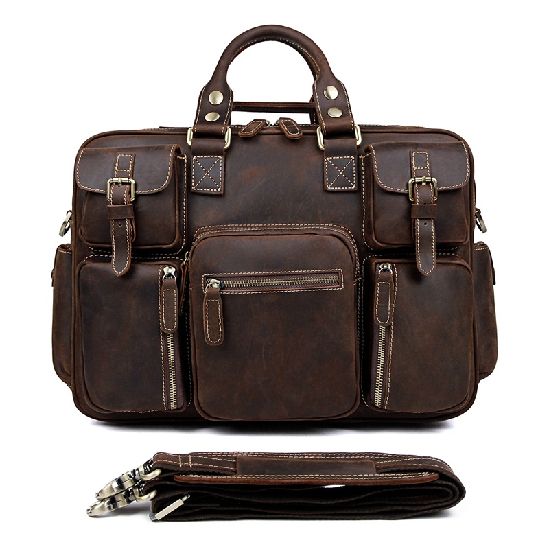 7028R Rare Crazy Horse Leather Men's Briefcase 15 Inches Laptop Bag Dispatch Travel Bag