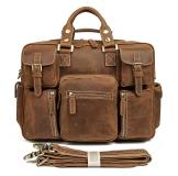 7028B Hot Selling Rare Saddle Leather Men's Briefcase Laptop Bag Dispatch 15 Inches Laptop Bag
