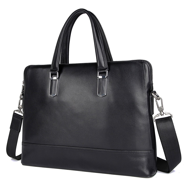 7421A  Black Real Cow Leather Bag Men's Laptop Bag