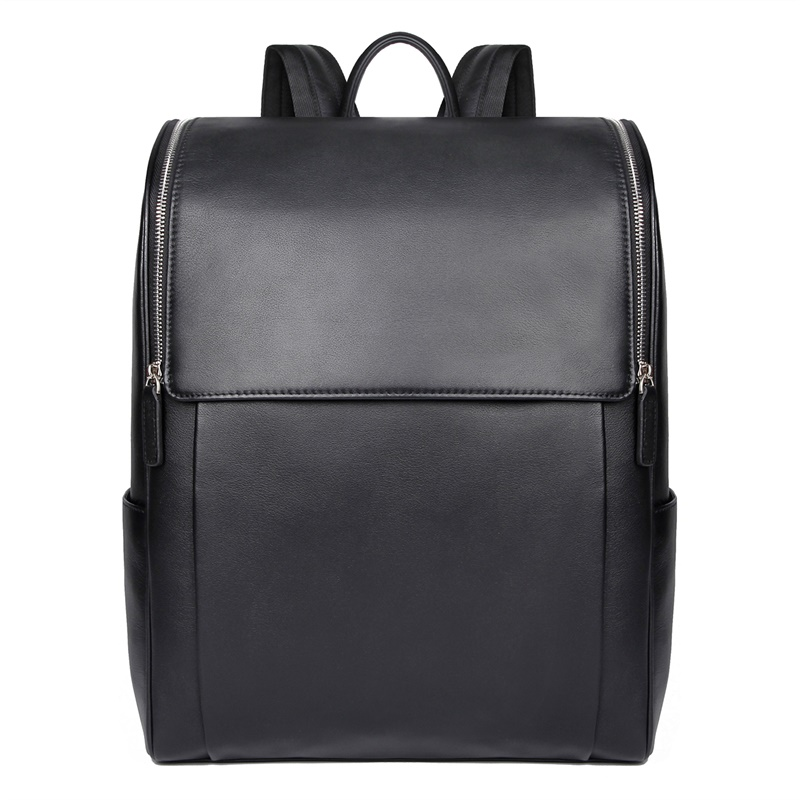 7344A-1  New Style Cow Leather Black Mens Backpack