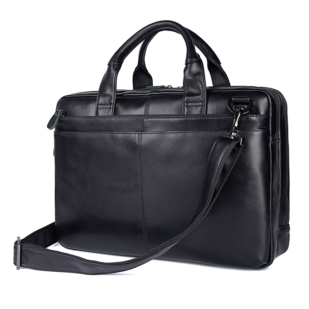 7092A Black Top Full Graine Cow leather Briefcase Laptop Bag